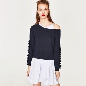 Zara Dresses - Zara Contrasting Mini Dress With Frilled Sweater
